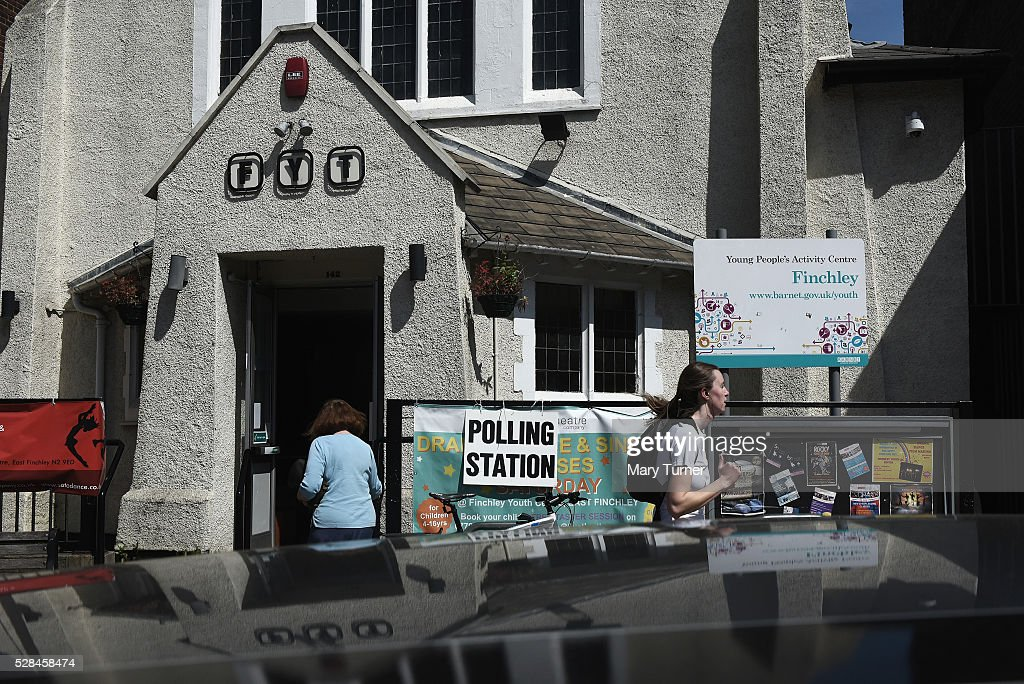 Local people arrive to vote in the Mayoral and London Assembly elections at the Finchley Young People's Activity Centre polling station on May 5, 2016 in Finchley, United Kingdom. There have been voting problems at the polling station all day due to registration issues in the borough of Barnet. Today, dubbed 'Super Thursday',sees the British public vote in countrywide elections to choose members for the Scottish Parliament, the Welsh Assembly, the Northern Ireland Assembly, Local Councils, a new London Mayor and Police and Crime Commissioners. There are around 45 million registered voters in the UK and polling stations open from 7am until 10pm.