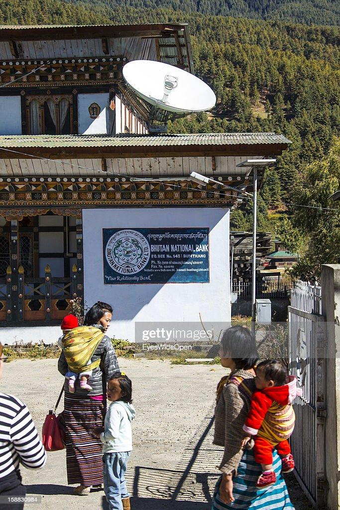 Local people at the Bhutan National Bank on November 18, 2012 in Bumthang, Bhutan.