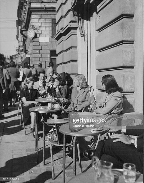 Local people enjoying lunch on the Via Veneto Rome Italy circa 1950