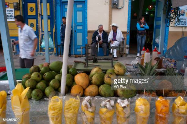 Local people Fruit stall in the central square of Finlandia Quindio Colombia