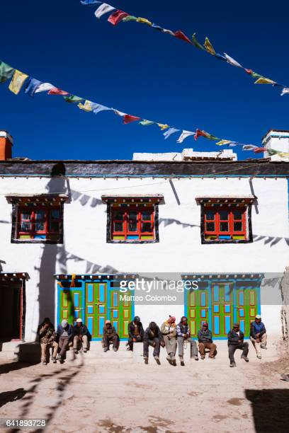 Local people in the square of Lo Manthang, Upper Mustang, Nepal