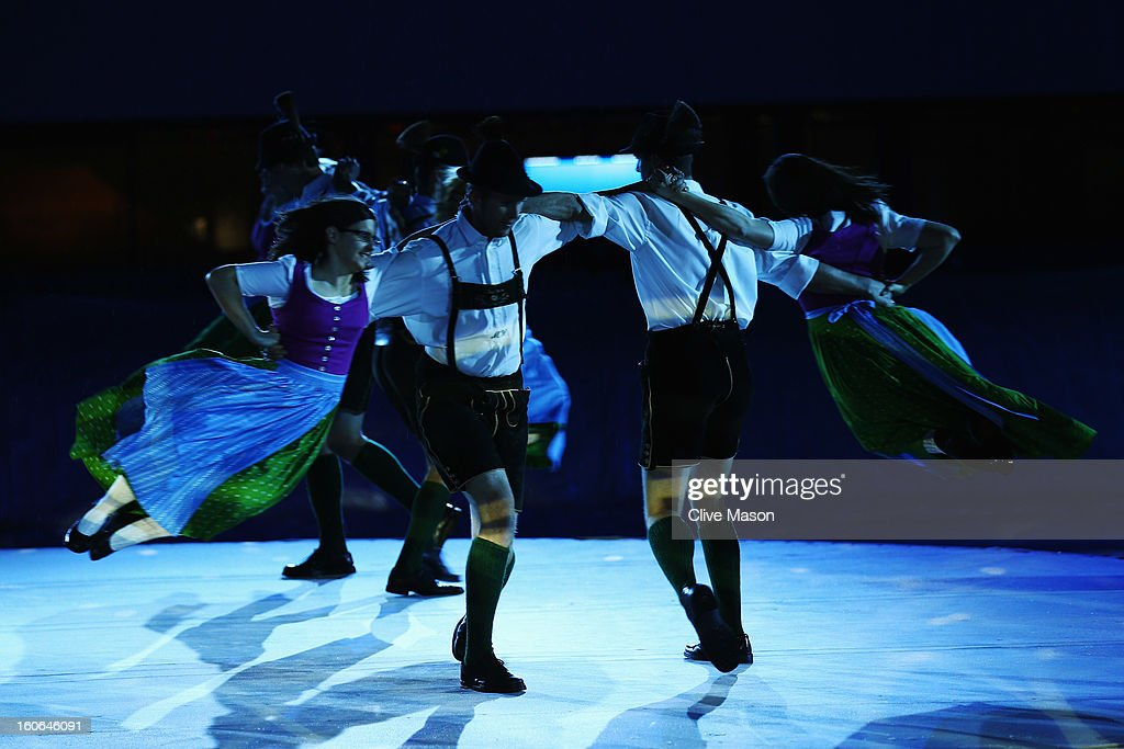Local performers dance during the opening ceremony for the Alpine FIS Ski World Championships on February 4, 2013 in Schladming, Austria.