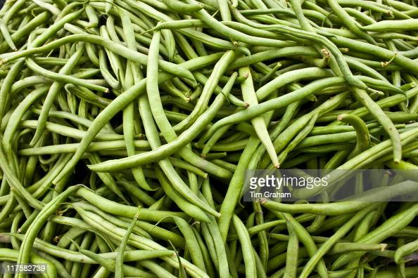 Local produce harricots verts beans at farmers market in Normandy France