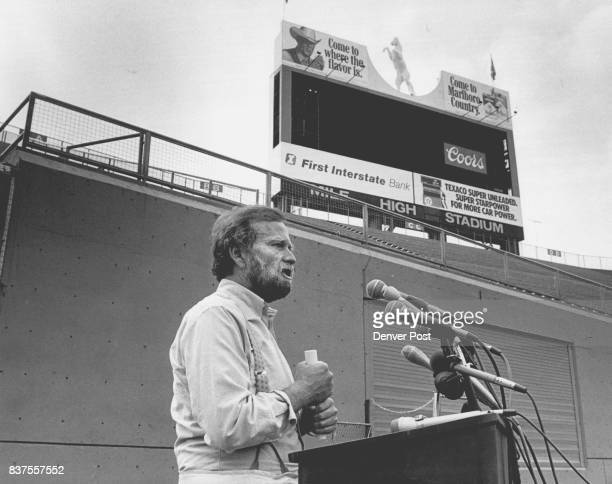 Local promoter Barry Fey announces the coming Sept 2223 or the Bruce Springsteen concert to Denver's Mile High Stadium Fey is standing where the...