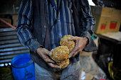A local ready to prepare Raw Hardened molasses to molasses Chaku on 06 January 2015 at Tokha Kathmandu Nepal for the celebration of Maghe Sankranti...