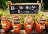 A local recycling scheme is signposted at the Matakana Famers Market in Matakana October 11 2008 near Auckland New Zealand Farmers markets in New...