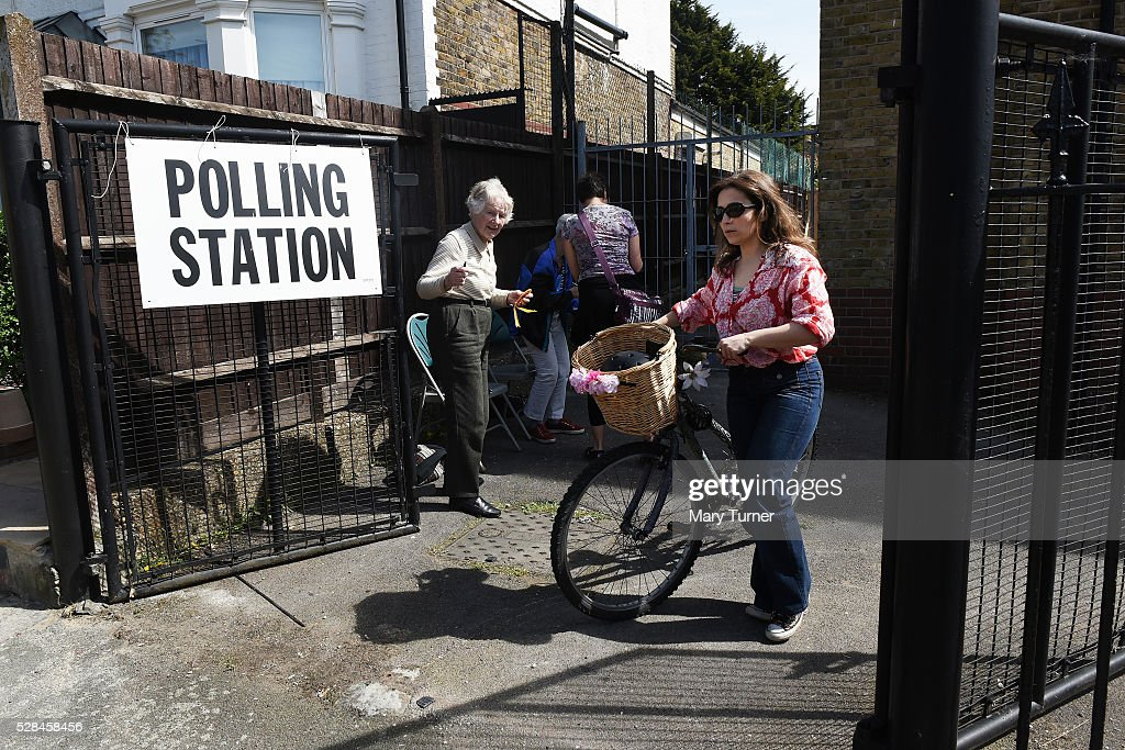 A local resident leaves the St Agnes Centre in Barnet, North London after casting her vote in the Mayoral and London Assembly Elections on May 5, 2016 in Barnet, United Kingdom. There have been voting problems due to registration issues throughout the day across the borough. Today, dubbed 'Super Thursday',sees the British public vote in countrywide elections to choose members for the Scottish Parliament, the Welsh Assembly, the Northern Ireland Assembly, Local Councils, a new London Mayor and Police and Crime Commissioners. There are around 45 million registered voters in the UK and polling stations open from 7am until 10pm.
