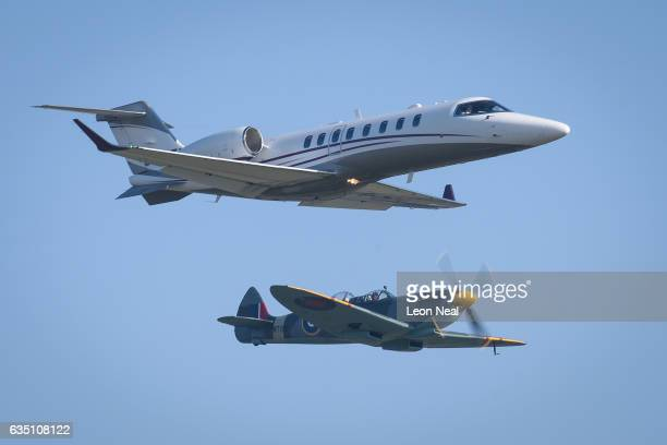 Local resident Lily Osborne and ex Bletchley Park Signals Intelligence Officer Trudi Baxter travel in a Learjet 75 while former Spitfire pilot Ray...