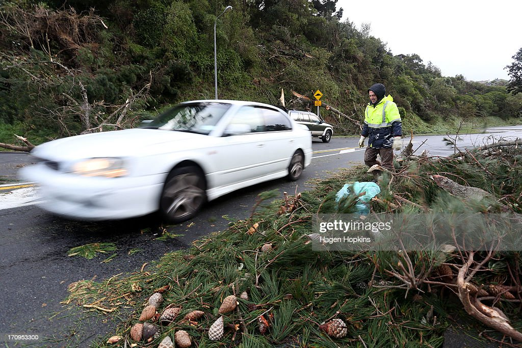 Local resident Murray Douglas clears a fallen tree on Liardet Street after a large storm on June 21, 2013 in Wellington, New Zealand. Winds reached up to 200km per hour during the storm and around 30,000 homes were left without power across the Wellington region.