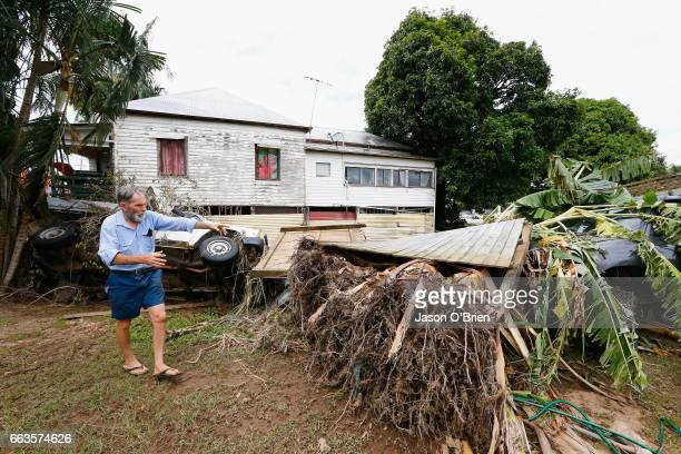Local Resident Phil Taylor stands in his backyard with severe flood damage on April 2 2017 in Murwillumbah Australia Heavy rain has caused flash...