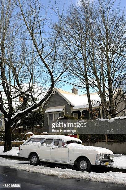 A local residents car is covered in snow at Blackheath on July 17 2015 in The Blue Mountains Australia Snow has covered parts of New South Wales...