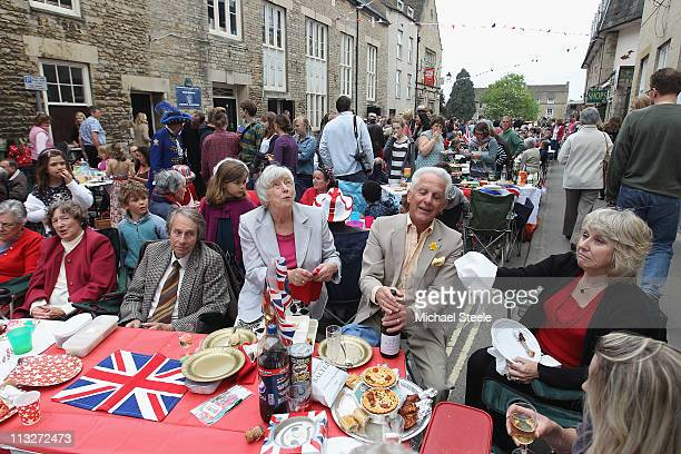 Local residents during street party celebrations on April 29 2011 in Tetbury England The marriage of Prince William the second in line to the British...