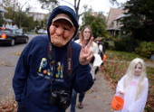 Local residents go trickortreating in the Ditmas Park neighborhood of Brooklyn on October 31 2012 in New York City