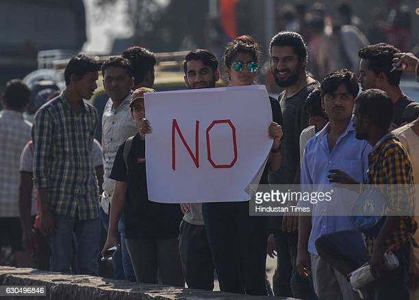 Local residents protest against Shiv Smarak in the Arabian Sea at Girgaum Chowpatty on December 24 2016 in Mumbai India PM Modi laid foundation stone...