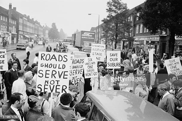 Local residents protest on the A1 at Hampstead about the proposed six lane lorry route London 15th September 1969