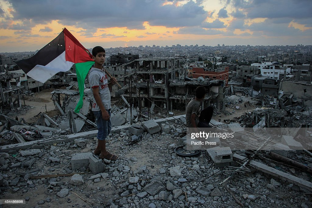 Local residents visited their houses that were shelled by Israel during the Operation Protective Edge by Israel in the Shejaia neighbourhood east of...