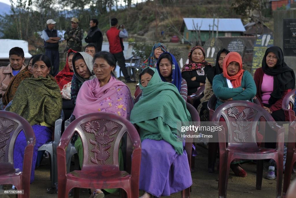 Local residents welcome Secretary Vandana Jena as she visits her first posting as SDM in Ukhrul district, on January 16, 2015 in Manipur, India.