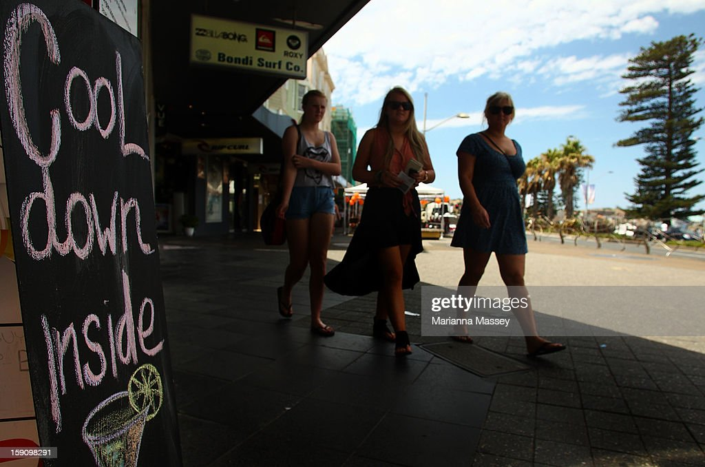 Local restaurants advertise a cool down at Bondi Beach on January 8, 2013 in Sydney, Australia. Temperatures are expected to reach as high as 43 degrees around Sydney today.