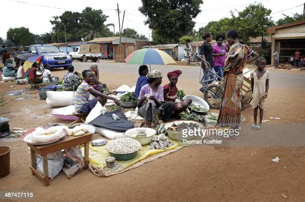 A local scene featuring street traders seated on the ground as seen on March 14 2014 in Bangui Central African Republic
