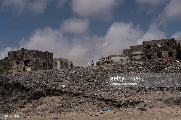 Local school kids look down on the beach on October 11 2016 in Barawe Somalia The city of Barawe was a stronghold for the AlShabaab militant group in...
