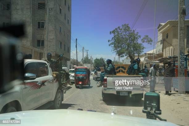 MOGADISHU SOMALIA MARCH 9 2017 A local security unit driving thru Mogadishu while protecting a United Nations convoy According to an United Nations...