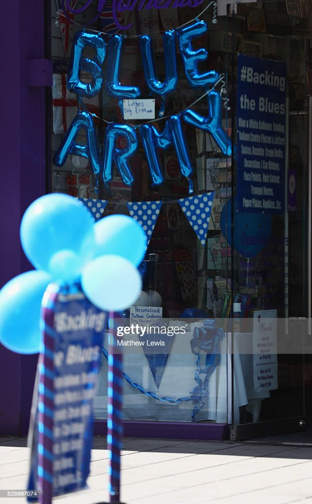 Local shops show their support towards Leicester City FC during a Leicester Backing the Blues Campaign in support of Leicester City on April 29, 2016 in Leicester, England.