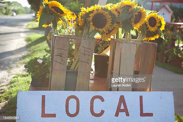 Local sign and sunflowers at roadside farmstand