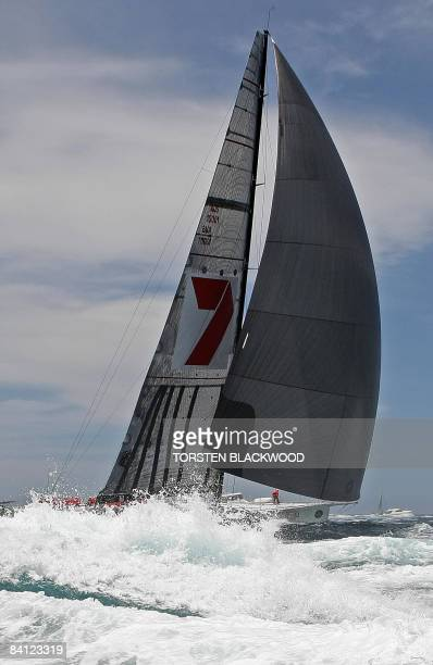 Local supermaxi and threetime line honours winner 'Wild Oats XI' heads out of Sydney Harbour after the start of the annual 628 nautical mile Sydney...