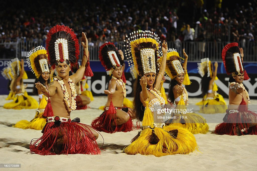 Local Tahitian dancers perform at the end of the FIFA Beach Soccer World Cup Tahiti 2013 Final between Spain and Russiai at the Tahua To'ata Stadium on September 28, 2013 in Papeete, French Polynesia.
