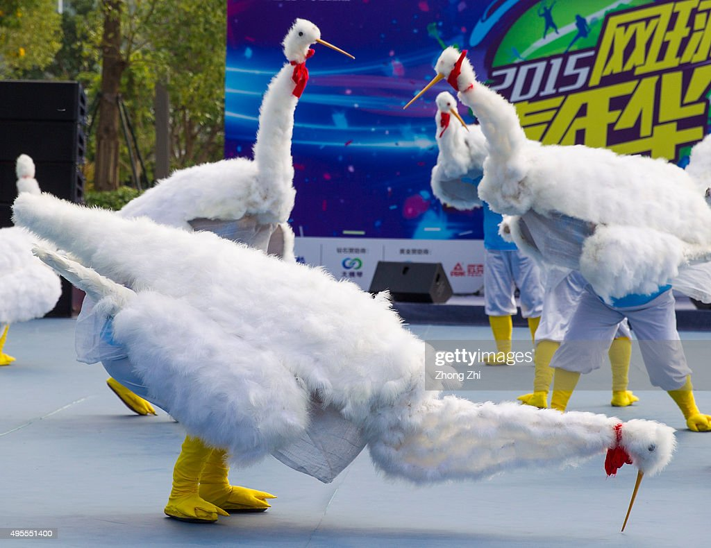 A local traditional crane dance performance on day 2 of Huajin Securities WTA Elite Trophy Zhuhai at Hengqin Tennis Center on November 3 2015 in...