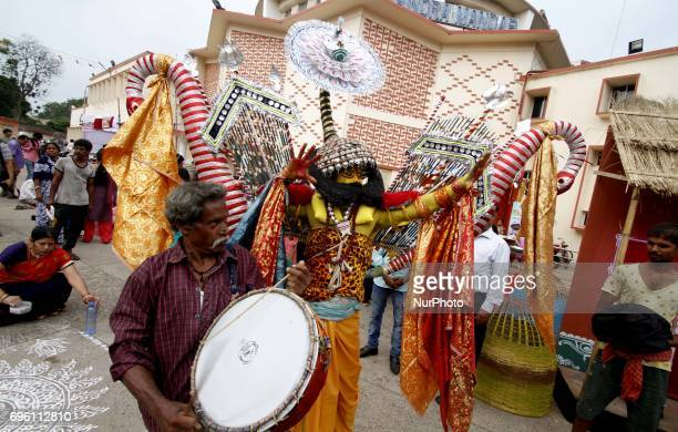 Local traditional dancers performing in the venue of the quotRajo Festivalquot celebration in the eastern Indian state Odisha's capital city...