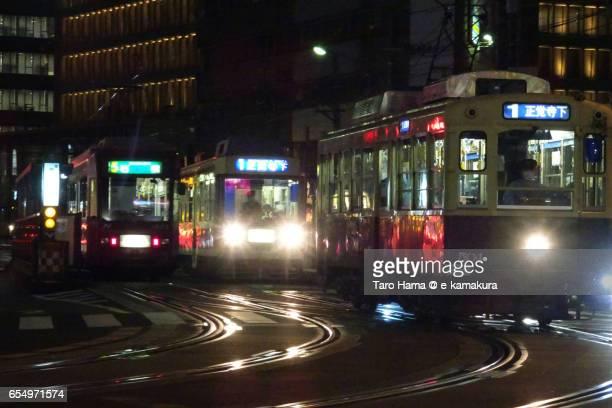 Local train in Nagasaki city night view