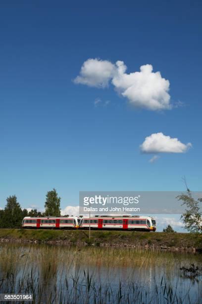 Local train passes through Punkaharju nature reserve, Saimaa Lake District