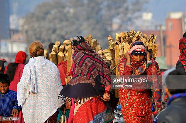 Local woman from Nuwakot lies 75 km Northwest of Kathmandu carrying bunch of firewood to sell in Balaju They used to sell NRs 1000 per bunch of...