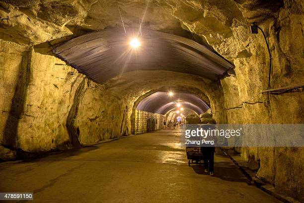 A local woman is pushing her vendor cart through the tunnel back home at the other side of Gulangyu island She sells specialty commodities to...