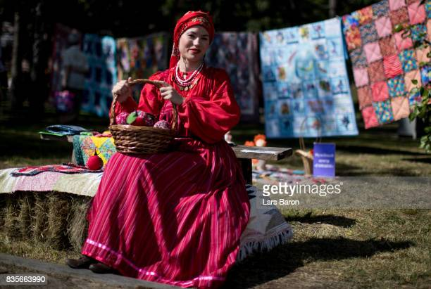 A local women in traditional clothes is seen on August 19 2017 in Ekaterinburg Russia