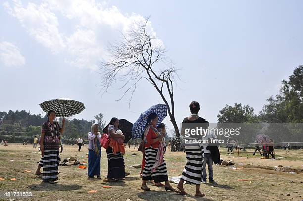 Local women leaving after the election campaign rally of BJP Prime Ministerial candidate Narendra Modi at Indira Gandhi Park on March 31 2014 in...