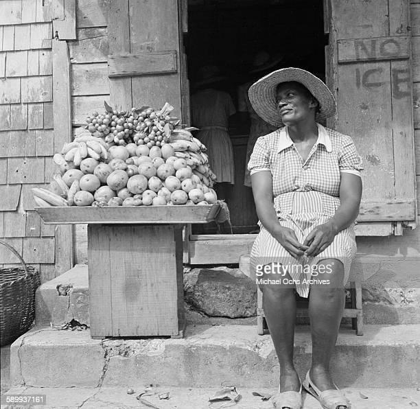 A local women sells fruit in Bridgetown Barbados