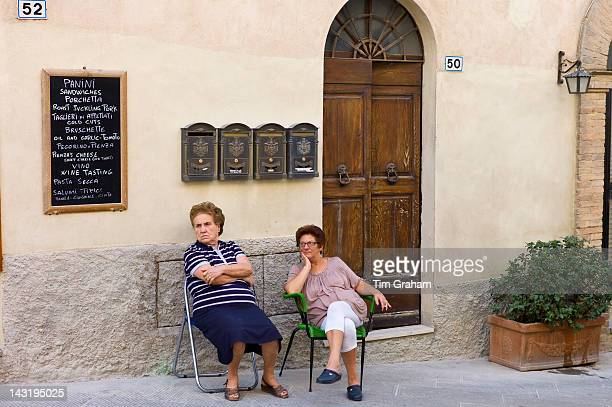 Local women sitting out in Montalcino Val D'OrciaTuscany Italy