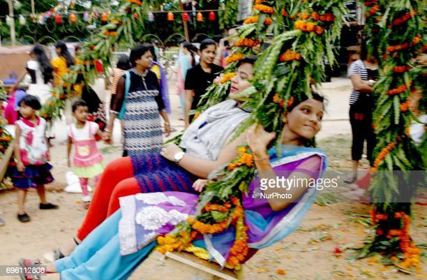 Local young girls look in the decorated swing as they are celebration the quotRajo Festivalquot in the eastern Indian state Odisha's capital city...