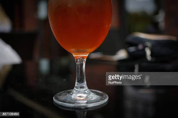 A locally brewed beer is seen at a restaurant in Bydgoszcz Poland on 20 August 2017 Mateusz Morawiecki presented figures from the statistical office...