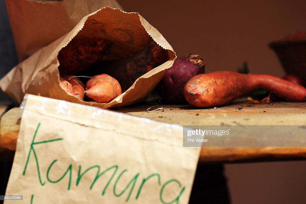 Locally grown kumara is displayed for sale at the Matakana Famers Market in Matakana October 11, 2008 near Auckland, New Zealand. Farmers markets in New Zealand are rapidly growing in popularity as people seek more healthy, fresh and nutritious alternatives to supermarket food.