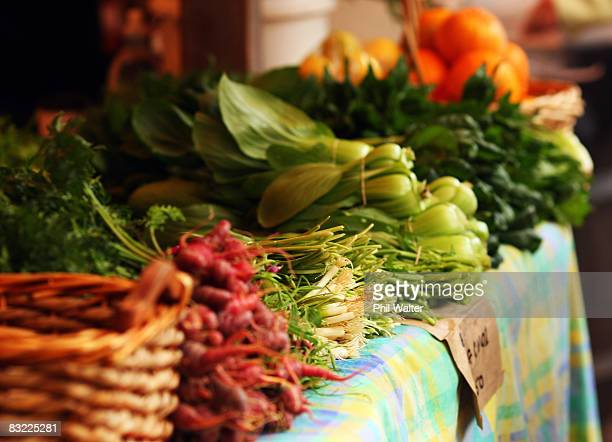 Locally grown vegatables is displayed for sale at the Matakana Famers Market in Matakana October 11 2008 near Auckland New Zealand Farmers markets in...