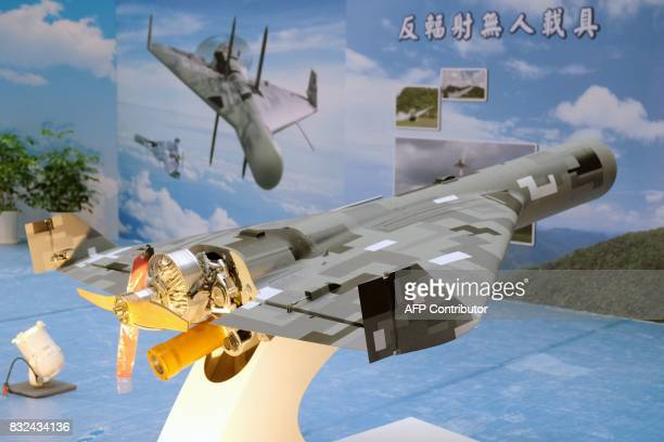 A locally made antiradiation drone is displayed during the 2017 Taipei Aerospace and Defense Technology Exhibition at the World Trade Center in...