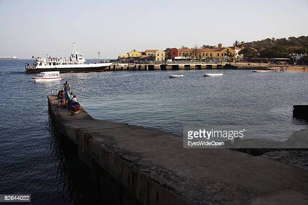 Locals and tourists at a beach on the Ile De Gore island on December 27 2007 near Dakar Republic of Senegal The Ile De Gore island is situated off...