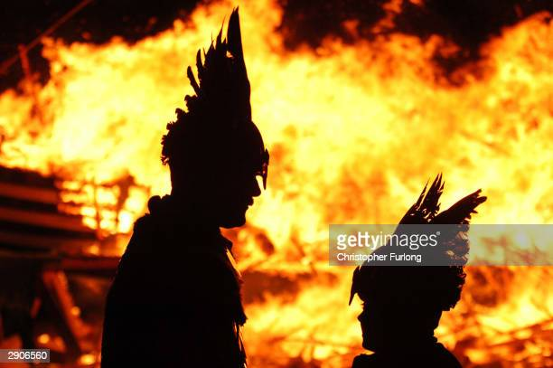 Locals dressed as Vikings march through the streets January 27 2004 in Lerwick Shetland The traditional festival of fire known as Up Helly Aa takes...