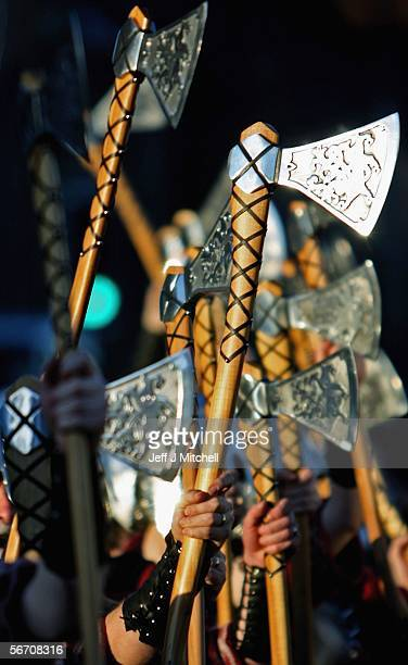 Locals dressed as Vikings march through the streets of Lerwick on January 31 in the Shetland Islands Scotland The traditional festival of fire is...