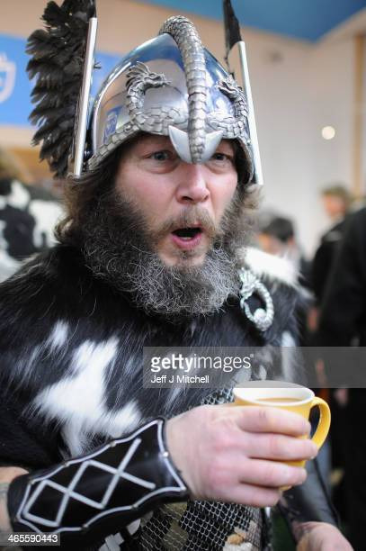 Locals dressed as Vikings prepare to march through the streets of Lerwick on January 28 in the Shetland Islands Scotland The traditional festival of...