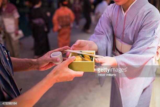 Locals enjoy sake and specialty foods during the Uzumasa Edosakaba an event recreating an edoperiod bar at the Toei Kyoto Studio Park on May 30 2015...