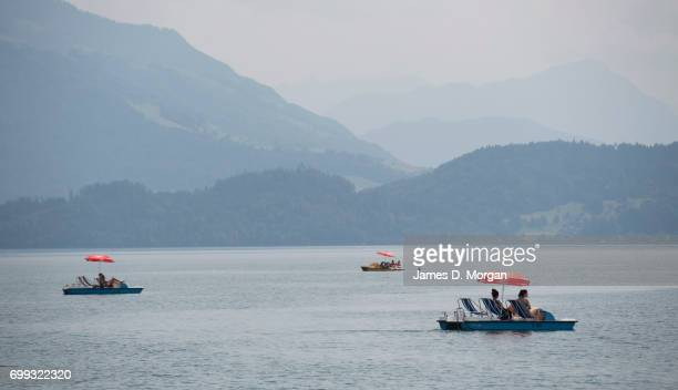 Locals enjoying the hot weather by boating on Lake Zug on the longest day of 2017 on June 21 2017 in Zug Switzerland The summer solstice was...